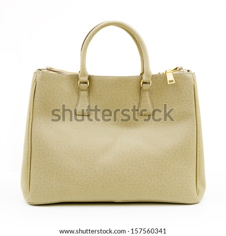 Luxury leather female handbag isolated on white background - stock photo