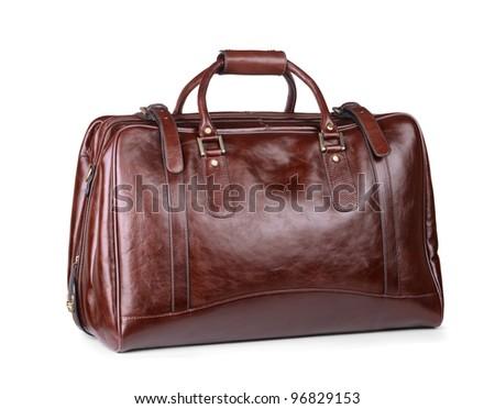 Luxury leather travel bag isolated on white - stock photo