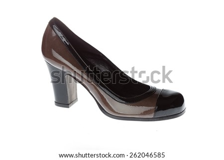 luxury leather woman's shoes isolated on white background. Classic shoes - stock photo