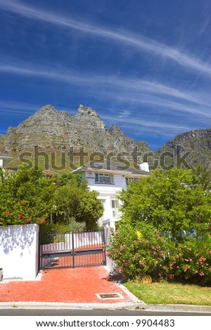 Luxury living in a mountain village in South Africa - stock photo