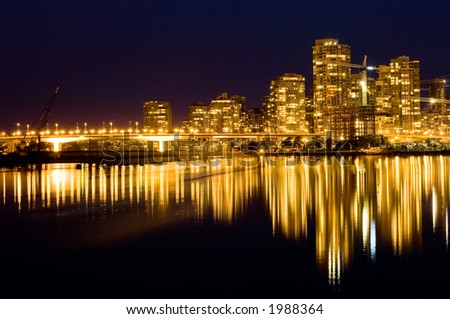 Luxury living in modern buildings, Yaletown, Vancouver - stock photo