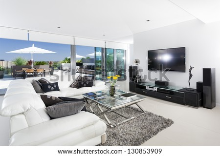 Luxury living room and balcony - stock photo