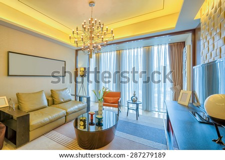 luxury living room and furniture with upscale design and decoration - stock photo
