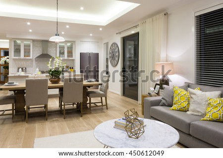 Luxury Living Room Beside A Dining Attached To The Kitchen Included Pillows On Sofas Next
