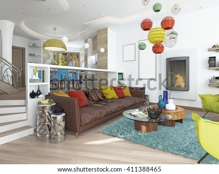 Luxury Living Room In The Style Of Kitsch. Contemporary Living With Large  Leather,