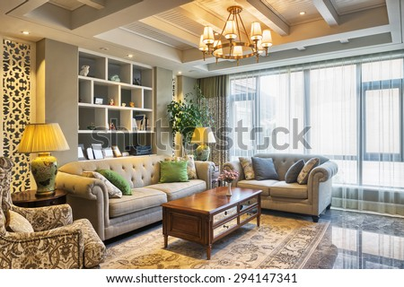 luxury living room interior and decoration - stock photo