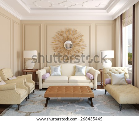 Luxury living-room interior. 3d render. Photo behind the window was made by me. - stock photo