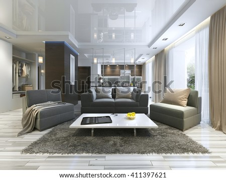 luxury living room studio in a modern style with comfortable armchairs and a sofa in olive