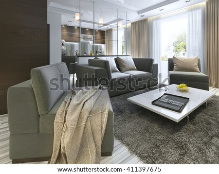 Luxury living room studio in a modern style with comfortable armchairs and a sofa in olive green. Apartment with kitchen and hallway with cloakroom. 3D render. - stock photo