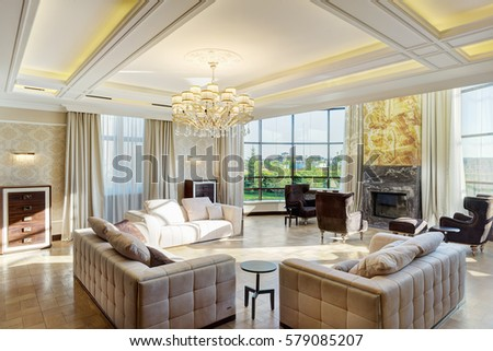 Luxury Living Room Big Windows Panoramic Stockfoto (Lizenzfrei ...