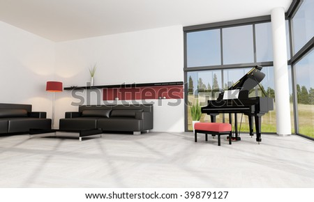 luxury living room with black grand piano - rendering - the image on background is a my photo