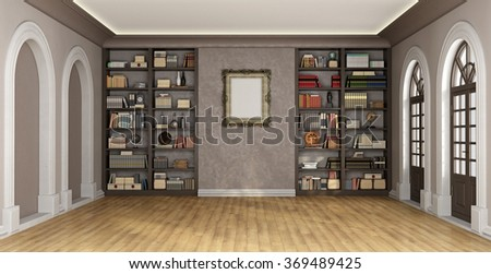 Luxury living room with large bookcase full of books and objects - 3D Rendering - stock photo