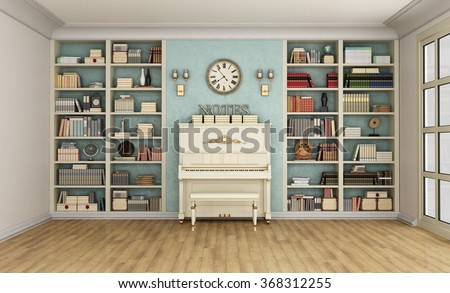Luxury living room with large bookcase full of books  and upright  piano - 3D Rendering - stock photo