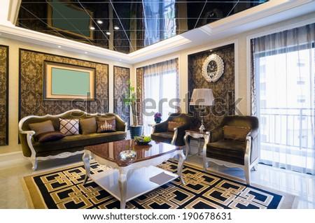 luxury living room with nice decoration - stock photo