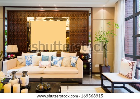 luxury living room with nice decoration of Chinese style - stock photo