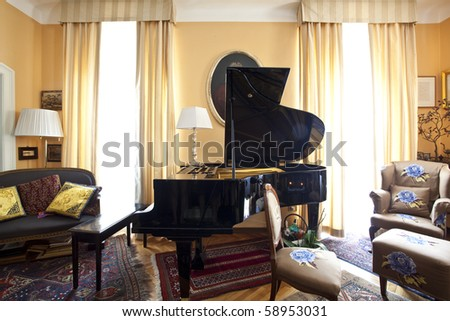 luxury living room with piano - stock photo