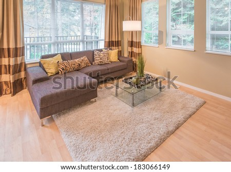 Luxury living room with sofa, couch and coffee table with some  decorations on it. Interior design. - stock photo