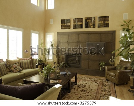 Luxury living room with unusual fireplace - stock photo
