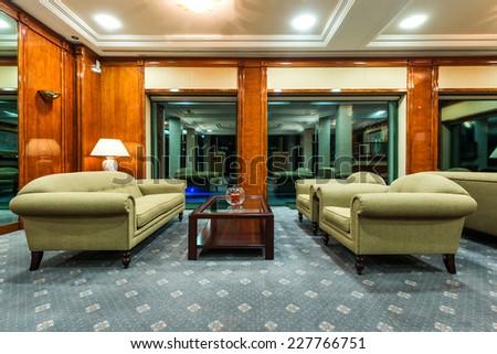 Luxury lobby in hotel - stock photo