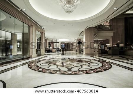 Luxury Lobby Interiorwith Crystal Lampbing Hall Stock