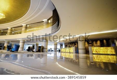 Luxury lobby lounge. Part of luxury hotel. - stock photo