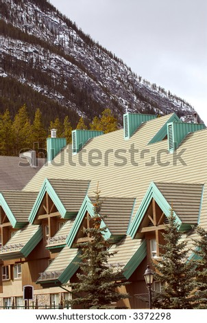 Luxury lodge accommodation in Canadian Rocky mountains - stock photo