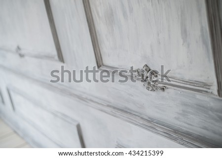 Luxury loft white wall design bas-relief with stucco mouldings roccoco element - stock photo