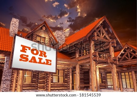 Luxury Log Home For Sale with Large For Sale Sign in Front. Real Estate Concept 3D Illustration. - stock photo