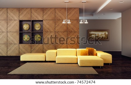 luxury lounge room with couch, 3d render - stock photo