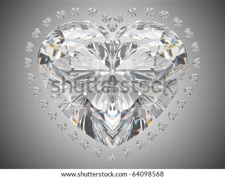 Luxury love - large heart cut diamond over white