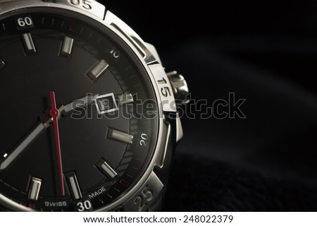 luxury man accessory watch detail, chronograph macro - stock photo