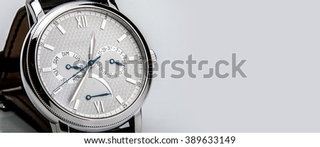 Luxury man watch detail, chronograph close up. swiss made  - stock photo