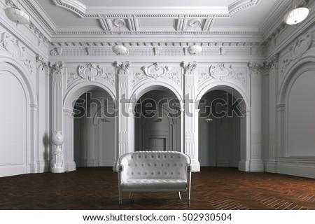 Luxury Mansion Villa Interior Columns White Stock