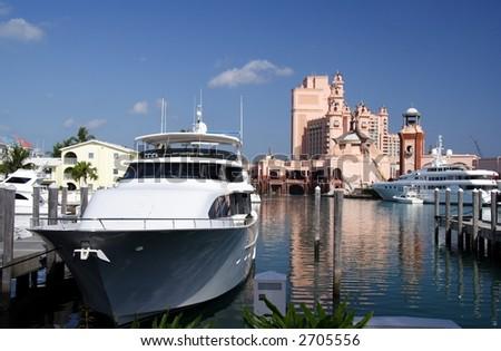Luxury marina and hotel resort - stock photo
