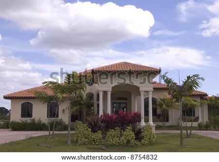 luxury mediterranean style house in miami florida - stock photo