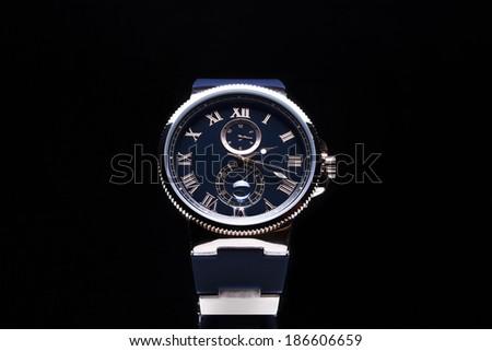 Luxury Men's Watch black - stock photo