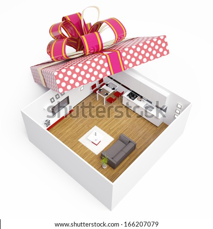 luxury modern apartment in gift box. creative concept - stock photo