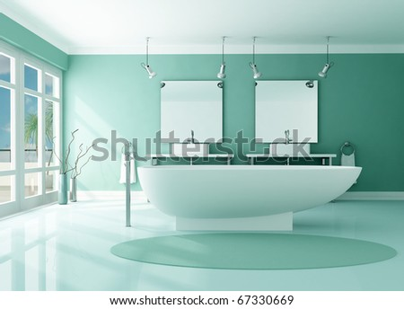 luxury modern bathroom with fashion bathtub and double sink -rendering - stock photo