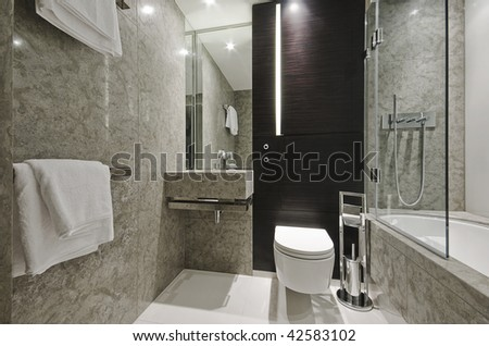Black Luxury Modern Bathroom luxury modern bathroom marble eben wood stock photo 42583102