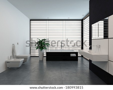 Luxury modern black and white bathroom interior - stock photo