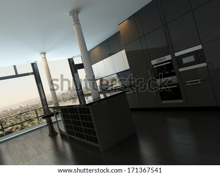 Luxury modern design black kitchen interior