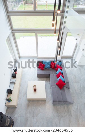 Luxury modern drawing room - view from above - stock photo