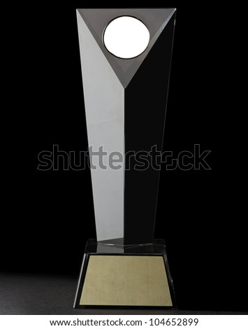 Luxury modern glass prize. isolated on black background - stock photo