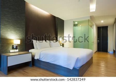 luxury modern hotel room, Bangkok, Thailand. - stock photo