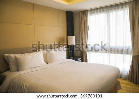Luxury, modern hotel room cleaned and ready for check-in. - stock photo