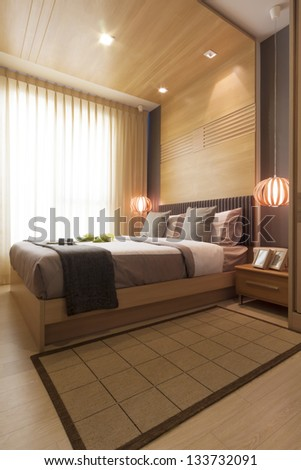 luxury modern japanese style bedroom. - stock photo