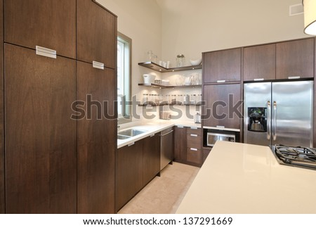 Luxury modern kitchen. Interior design.