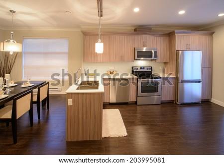 Luxury modern kitchen. Interior design of a brand new house. - stock photo