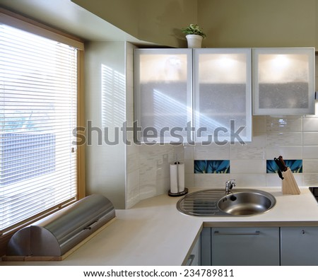 Luxury Modern Kitchen Interior in the pivate house.  - stock photo