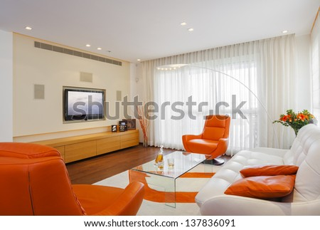 Luxury Modern Living Room - stock photo